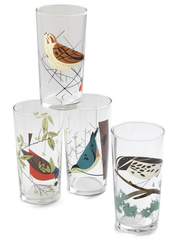 Nest Best Thing Glass Set - Multi, Print with Animals, Better, Critters, Bird, Woodland Creature