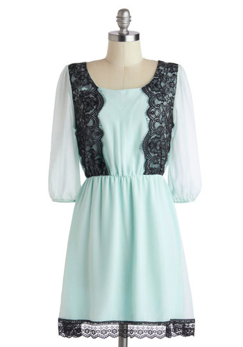 Off to Brunch Dress - Sheer, Short, Black, Lace, Party, A-line, 3/4 Sleeve, Scoop, Blue, Daytime Party, Pastel, Mint, Summer