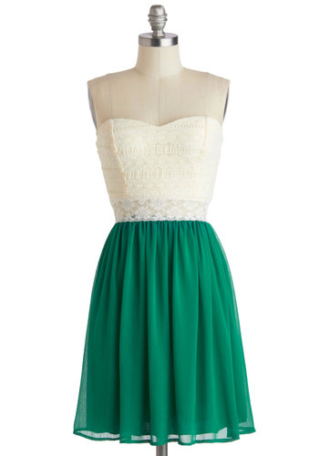 Fine and Dandy Dress - Short, Green, Tan / Cream, Lace, Party, A-line, Strapless, Sweetheart