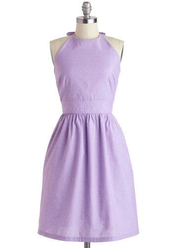 Stroke of Luxe Dress in Lilac - Purple, Solid, Pockets, Casual, A-line, Halter, Crew, Summer, Mid-length, Cotton, Exclusives, Pastel