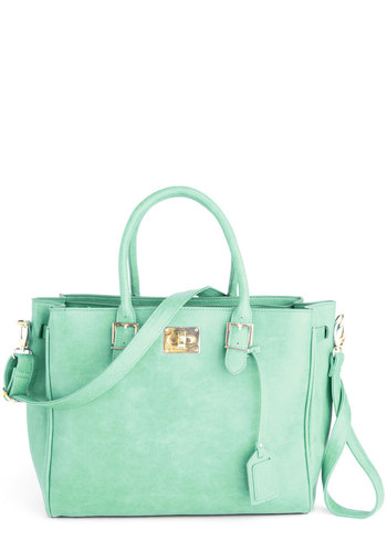 Downtown Day Trip Bag in Mint - Mint, Solid, Work, Casual, Pastel, Faux Leather, Variation