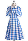Performance Picnic Dress by Bea & Dot - Blue, White, Checkered / Gingham, Buttons, Tie Neck, Casual, A-line, Spaghetti Straps, Sweetheart, Daytime Party, Vintage Inspired, 50s, Summer, Pinup, Cotton, Long, Exclusives, Private Label, Spring