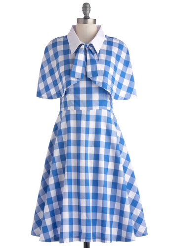 Performance Picnic Dress by Bea & Dot - Blue, White, Checkered / Gingham, Buttons, Tie Neck, Casual, A-line, Spaghetti Straps, Sweetheart, Daytime Party, Vintage Inspired, 50s, Summer, Pinup, Cotton, Long, Exclusives, Private Label