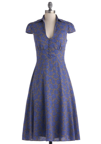 Surprise Sunset Dress - Vintage Inspired, 40s, Long, Purple, Grey, Floral, Buttons, Casual, A-line, Cap Sleeves, Collared, 50s, Top Rated