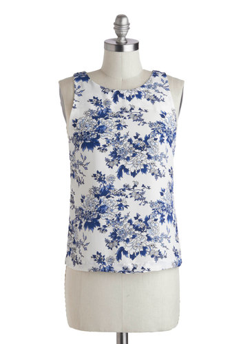 Porcelain Me a Cup Top - Mid-length, Blue, White, Floral, Casual, Daytime Party, Vintage Inspired, French / Victorian, Tank top (2 thick straps), Spring