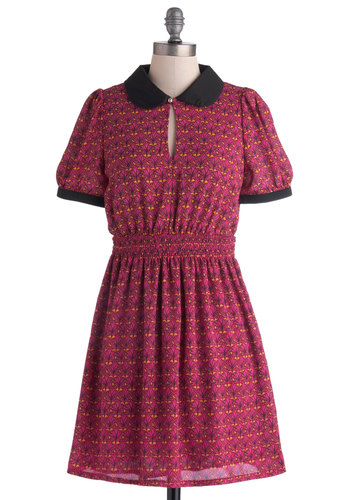 Flourish of Emotions Dress - Mid-length, Purple, Multi, Print, Peter Pan Collar, Casual, A-line, Short Sleeves, Collared, Black, Work, Vintage Inspired, 60s