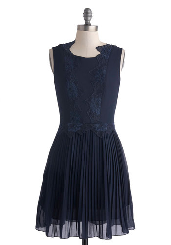 Gramophone Gathering Dress - Short, Blue, Solid, Lace, Pleats, Party, A-line, Sleeveless