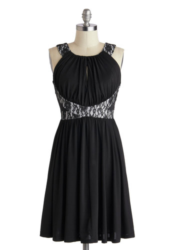Moonlit Gathering Dress - Mid-length, Black, Cutout, Lace, Party, A-line, Sleeveless, Scoop, White, Solid, Wedding