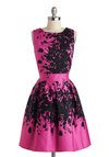 Make the Rounds Dress in Fuchsia Bouquets - Mid-length, Pink, Black, Print, Crochet, Pockets, Party, Fit & Flare, Sleeveless, Scoop, Lace, Wedding, Bridesmaid, Vintage Inspired, 50s, 60s, Spring, Variation, Cotton, Sheer, Woven