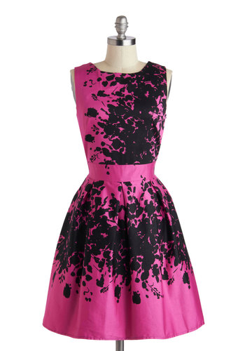 Make the Rounds Dress in Fuchsia Bouquets