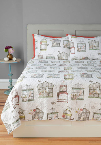 Bright and Early Bird Quilt Set in Full/Queen - Cotton, Multi, Multi, Novelty Print, Boho, Fairytale, Pastel, French / Victorian, Dorm Decor, Mid-Century