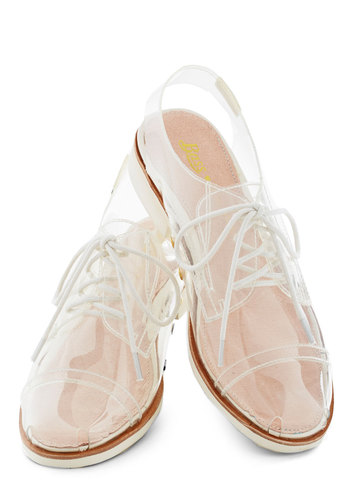 Rachel Antonoff for Bass Clear and Far Flat by Bass - White, Solid, Lace Up, Slingback, Low, Menswear Inspired, Summer, Statement