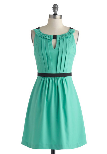 Wouldn't You Verdigris? Dress - Short, Mint, Black, Cutout, Pleats, Party, A-line, Sleeveless, Scoop, Summer