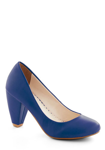 Solid Choice Heel in Blue - Blue, Solid, Work, Party, Minimal, Mid, Faux Leather, Variation, Basic, Spring