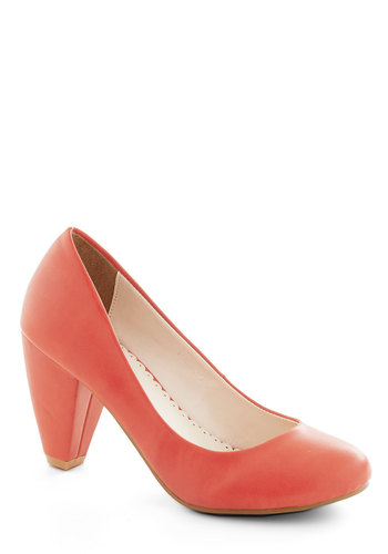 Solid Choice Heel in Coral - Coral, Solid, Work, Pastel, Mid, Faux Leather, Basic
