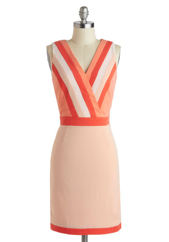 Coral-ly Yours Dress - Mid-length, Coral, Stripes, Party, Sheath / Shift, Sleeveless, V Neck, Girls Night Out, Pastel, Summer