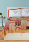 Patchwork, Present, and Future Quilt by Karma Living - Orange, Orange, Boho, Multi, Multi, Patch, Fall, Cotton, Festival