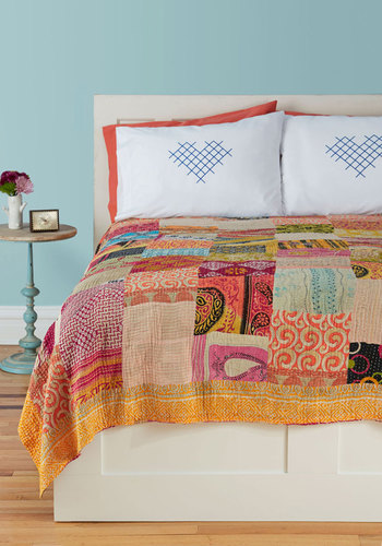Patchwork, Present, and Future Quilt by Karma Living - Orange, Orange, Boho, Multi, Multi, Patch, Fall, Cotton