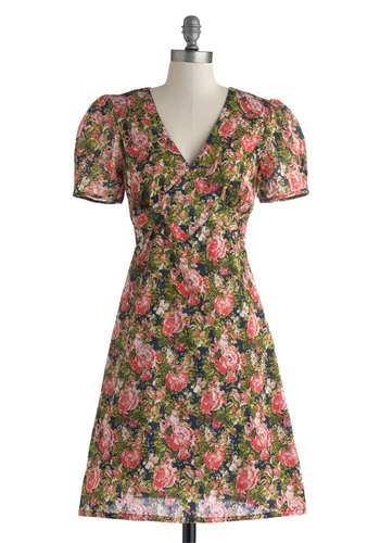 Saturday Best Dress in Roses - Mid-length, Cotton, Multi, Floral, Casual, A-line, Short Sleeves, V Neck