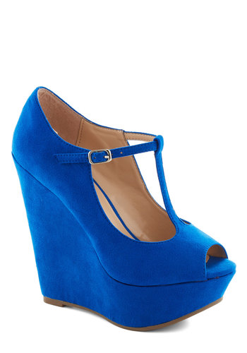 It Malt Be Love Wedge in Blueberry - Blue, Solid, Party, Cocktail, Girls Night Out, High, Platform, Wedge, Peep Toe, Variation, T-Strap