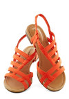 White Sand Shores Sandal in Orange - Orange, Beach/Resort, Summer, Flat, Solid, Cutout, Casual, Faux Leather, Strappy, Variation
