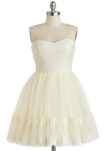 Fairytale in Flight Dress - Short, White, Solid, Special Occasion, Wedding, Bride, Fit & Flare, Strapless, Sweetheart, Prom