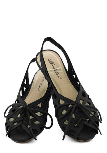 I'd Lovesome Sandal in Black - Black, Cutout, Beach/Resort, Summer, Lace Up, Slingback, Low, Solid, Casual, Daytime Party, Variation