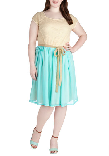 Sweet on Blue Dress in Plus Size - Tan / Cream, Mint, Lace, Belted, A-line, Cap Sleeves, Party, Daytime Party, Vintage Inspired, Fairytale, Spring, Exclusives