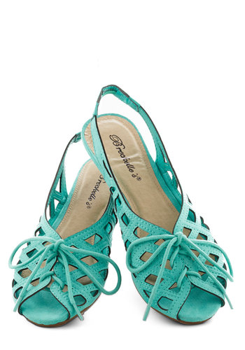 I'd Lovesome Sandal in Aqua - Mint, Cutout, Beach/Resort, Summer, Lace Up, Slingback, Low, Solid, Casual, Daytime Party, Variation