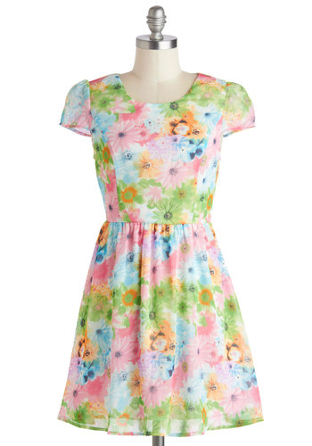 Resplendence in Bloom Dress - Multi, Floral, Party, A-line, Cap Sleeves, Scoop, Daytime Party, Spring, Summer, Short