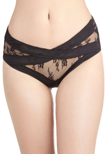 Beauty in Burlesque Briefs - Black, Solid, Bows, Cutout, Lace, Film Noir, Sheer, Knit, Boudoir