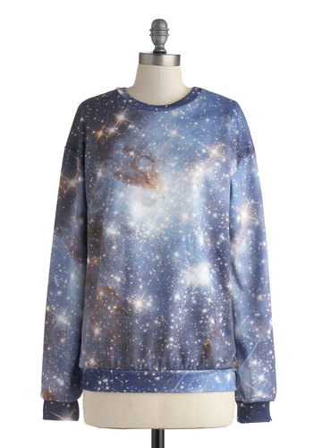 Stellar Exploration Sweatshirt - Multi, Blue, Black, Novelty Print, Casual, Long Sleeve, International Designer, Mid-length, Tan / Cream, Sweatshirt, Blue, Long Sleeve