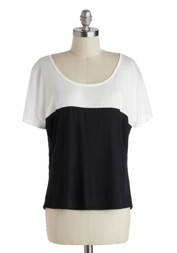 Set the Two-Tone Top - White, Solid, Casual, Short Sleeves, Scoop, Mid-length, Black, Bows, Cutout, Colorblocking, Summer