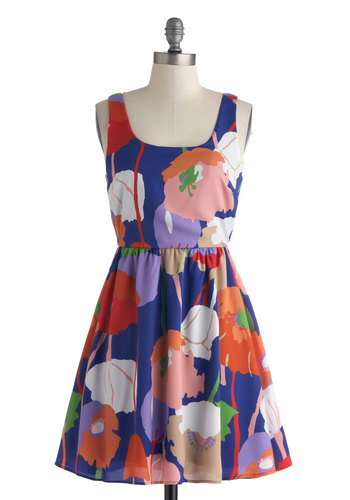 Poppy on Over Dress - Short, Blue, Multi, Floral, Casual, A-line, Tank top (2 thick straps), Scoop, Spring, Summer