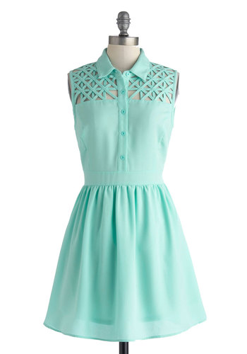 Star Catching Dress in Dusk - Mid-length, Solid, Buttons, Cutout, Casual, Shirt Dress, Sleeveless, Collared, Blue, Pastel, Spring, Summer, Variation