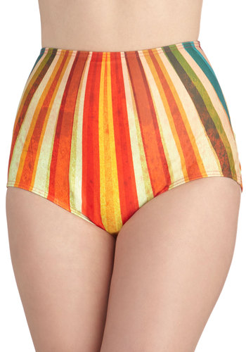 A Dip at Dawn Swimsuit Bottom - Multi, Stripes, Beach/Resort, High Waist, Summer, Exclusives