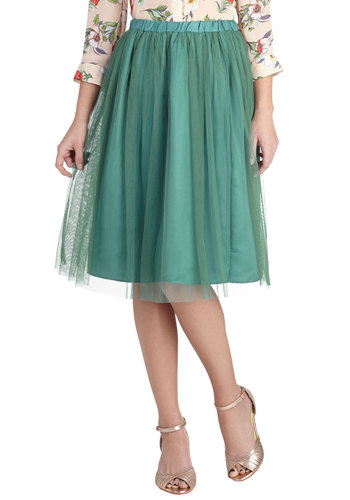 Going Tulle Be Lovely Skirt in Forest - Satin, Long, Green, Solid, A-line, Party, Cocktail, Fairytale