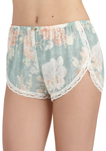 Beyond Your Stylish Dreams Sleep Shorts by Only Hearts - Blue, Floral, Trim, Cotton, Sheer, White, Flower, Lace, Pastel, Pink, Bride, Boudoir