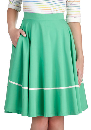 Waltz to the Malt Shop Skirt - Mid-length, Green, White, Solid, Pockets, Work, Daytime Party, Vintage Inspired, 50s, Fit & Flare, Spring, Summer