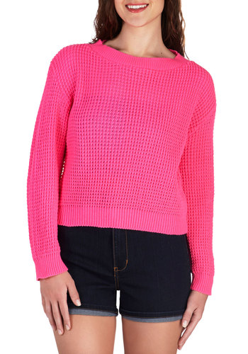Neon Nonchalance Sweater - Short, Pink, Solid, Knitted, Casual, Neon, Long Sleeve, Crew