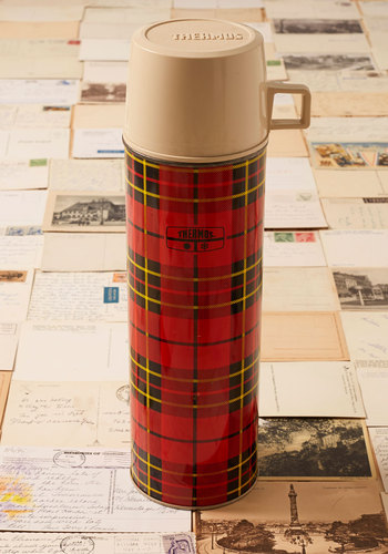 Vintage Plaid You're Here Vacuum Bottle