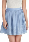 Wisp Come True Skirt - Blue, Embroidery, Scallops, Daytime Party, Spring, Short, Ballerina / Tutu, Blue