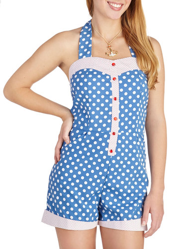 Playful in Polka Dots Romper - Long, Blue, Red, White, Polka Dots, Buttons, Beach/Resort, Pinup, Vintage Inspired, 50s, Halter, Casual, Summer