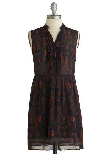 Set the Silhouette Dress - Mid-length, Black, Red, Print, Buttons, Casual, A-line, Sleeveless, Exclusives