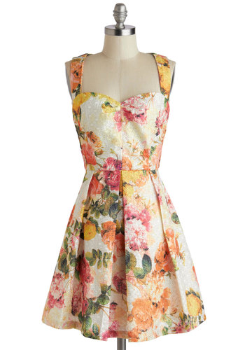 All About the Details Dress by Louche - Mid-length, Cream, Multi, Floral, Exposed zipper, Pleats, Daytime Party, Graduation, A-line, Sleeveless, Sweetheart, Wedding, Vintage Inspired, 50s