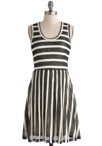 Table for Two Tone Dress - Black, White, Stripes, Exposed zipper, Casual, A-line, Racerback, Scoop, Mid-length, Top Rated