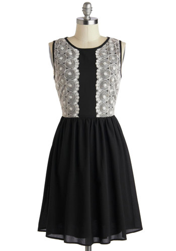 Call Me Album Dress - Mid-length, Black, White, Lace, Party, A-line, Sleeveless, Scoop