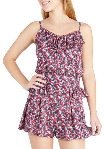 Ruffle While You Work Romper - Pink, Floral, Casual, Spaghetti Straps, Blue, Ruffles, Summer