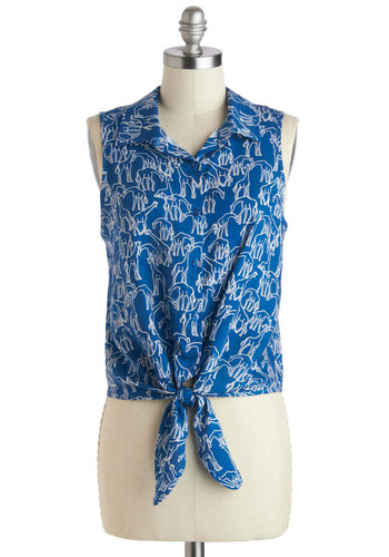 Tall I Could Ever Need Top in Blue - Short, Blue, White, Print with Animals, Buttons, Casual, Safari, Collared, Button Down, Sleeveless, Summer, Variation, Blue, Sleeveless