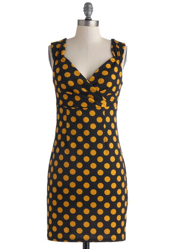 Lady Love Ballad Dress - Mid-length, Yellow, Polka Dots, Ruching, Party, Sheath / Shift, Sleeveless, Sweetheart, Black, Cocktail, Girls Night Out, Pinup, Vintage Inspired, 40s, 50s